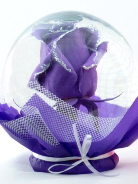 Purple with Silver Glitter Flower Globe