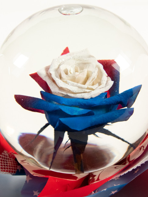 Red-White-Blue with Silver Glitter Flowe