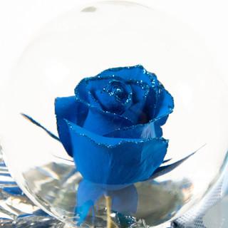 Blue with Blue Glitter Flower Globe