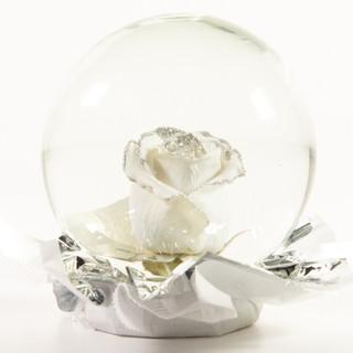 White with Silver Glitter Flower Globe