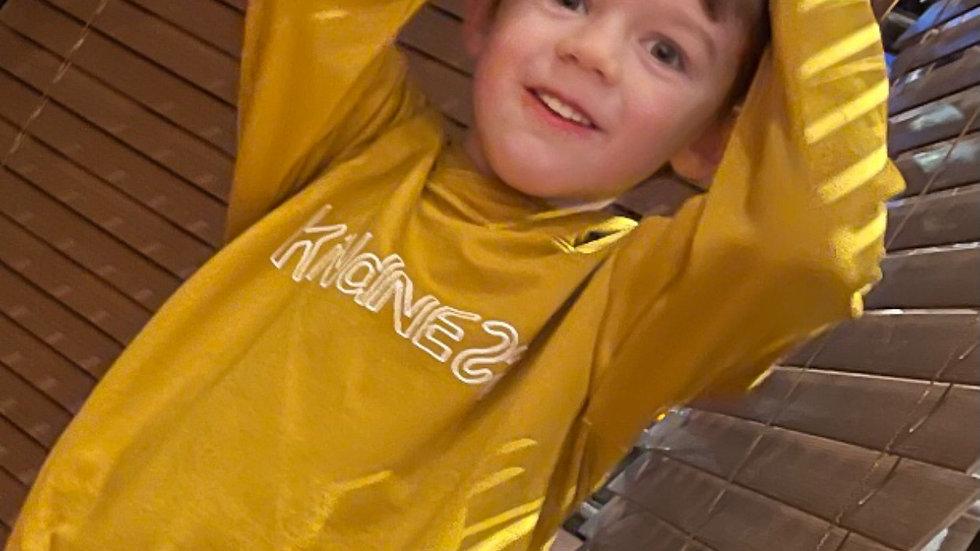 Kindness Hoodie in mustard.
