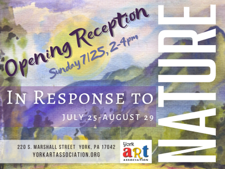 Join us for an OPENING RECEPTION for In Response to Nature Exhibition on Sunday 7/25 from 2-4pm.