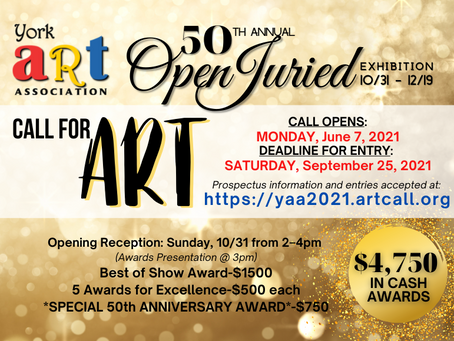 CALL FOR ART! 50th Annual Open Juried Exhibition
