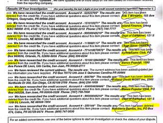 Resultado de investigación de Equifax con 10 cuentas eliminadas.