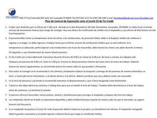 Protocolo de Seguridad ante el Covid-19 según el CDC