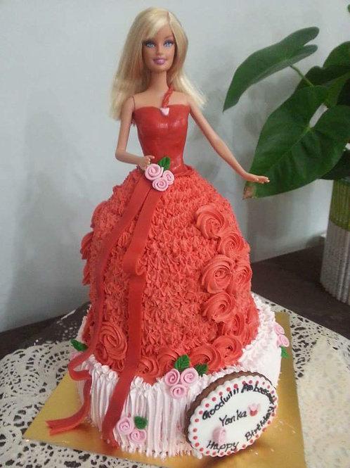 公主系列鮮果忌廉蛋糕 ~ 芭比紅玫瑰公主