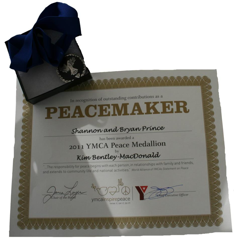 Shannon and Bryan awarded the 2011 YMCA Peace Medallion