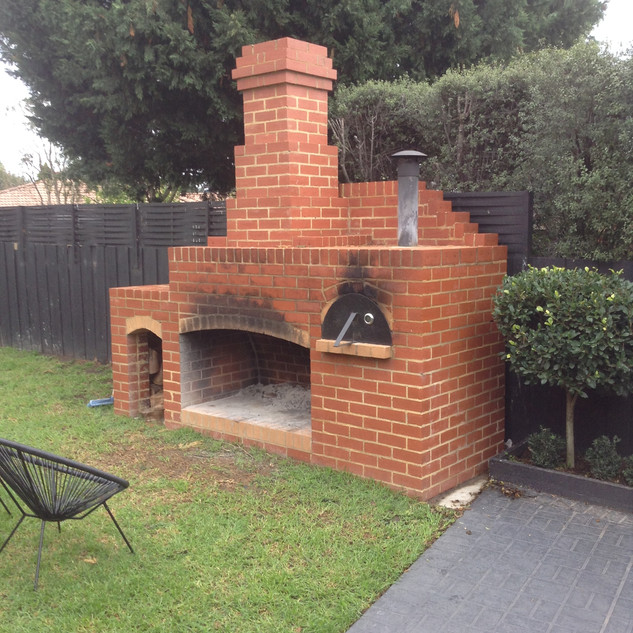 Brick Fireplace with Pizza Oven