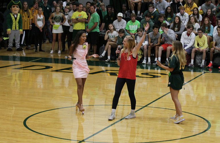 Senior, Leah Lissauer, giving announcement during the homecoming assembly about Peter Pan!