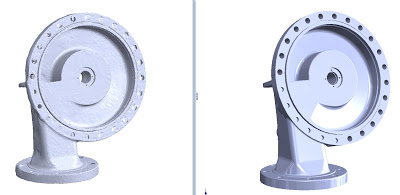 oil and gas fuel water pump compressor housing casting 3d laser scan reverse engineering faro bms de