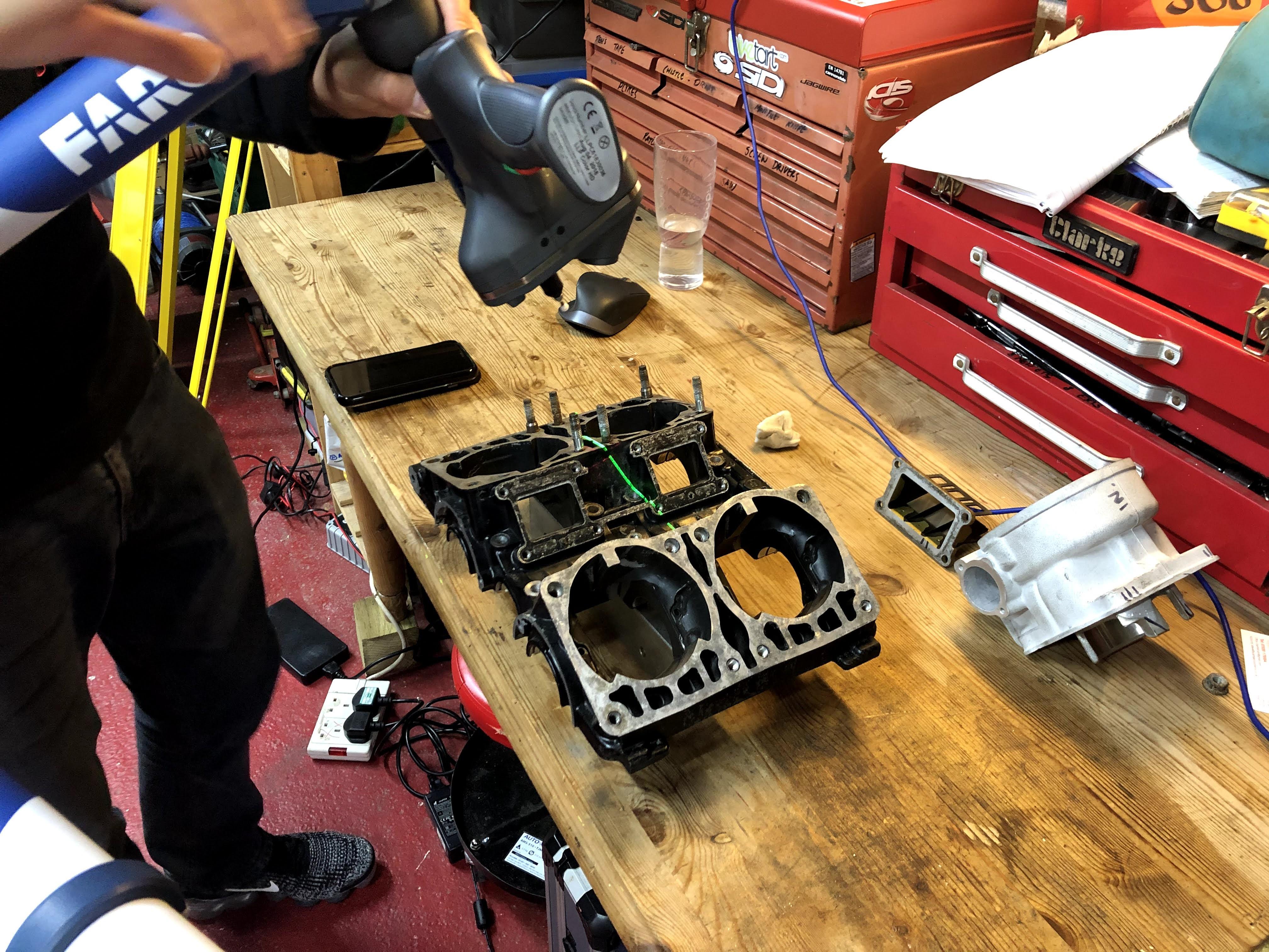 engine casing cylinder head 3d laser scan reverse engineering faro bms design ltd