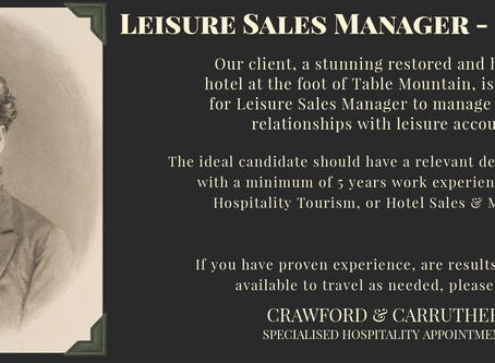 Leisure Sales Manager - Cape Town, South Africa
