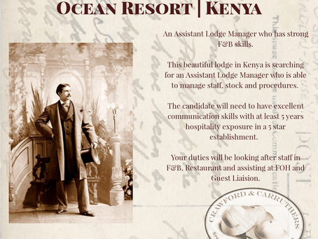 Kenya - Assistant Lodge Manager