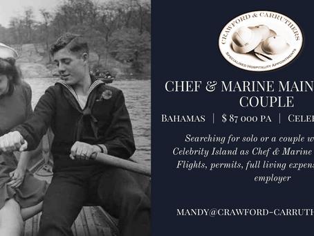 Celebrity Island | Bahamas | Chef & Marine Maintenance Couple