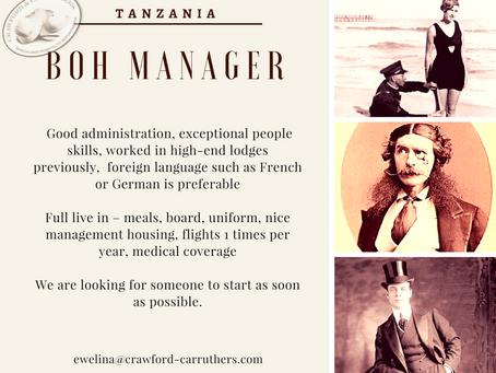 Administration Manager BOH | Tanzania