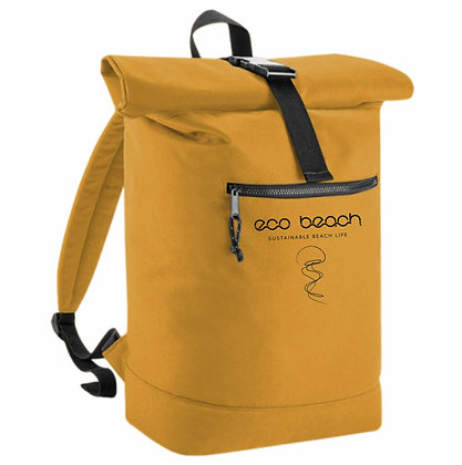 sustainable recycled eco friendly roll top backpack