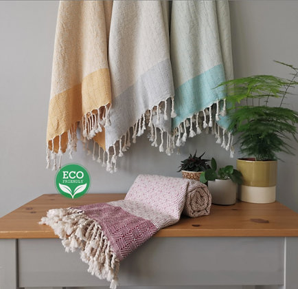 sustainable ethical eco friendly turkish cotton beach towel with diamond