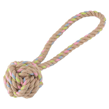 Natural hemp ball on a rope