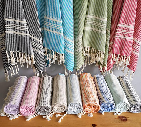 sustainable ethical eco friendly turkish cotton beach towel with stripe