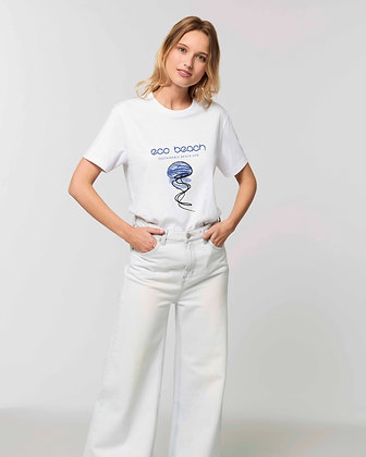 Woman in blue rocker beach t-shirt