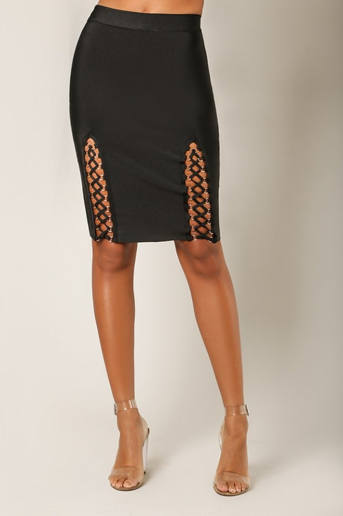Lace Up Pencil Skirt