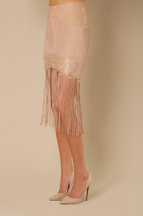 Skirt w/ Fringe Detail