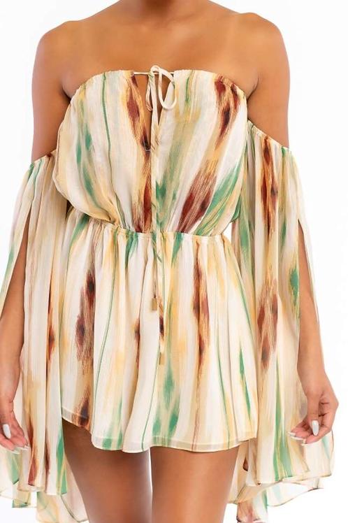 Elbow Sleeve Short Dress