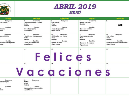 Menú del mes de Abril.