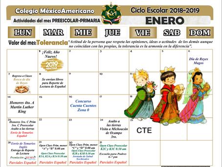 Calendario de Actividades del mes de enero Preescolar y Primaria