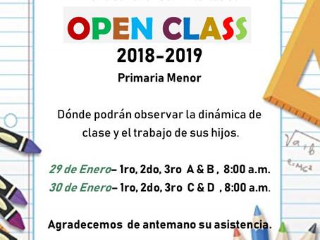 Invitación Open Class 2018-2019 Primaria Menor