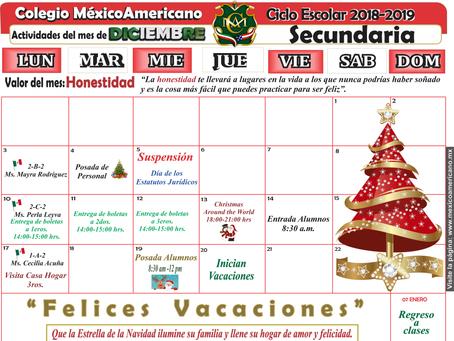 Calendario del mes de diciembre Secundaria