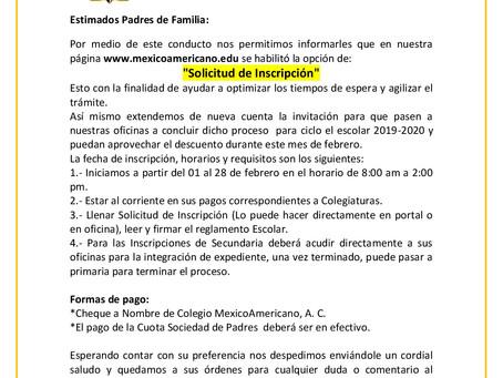 Procedimiento de Inscripción y Reinscripción  Ciclo Escolar 2019-2020