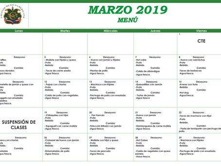 Menú del mes de marzo.