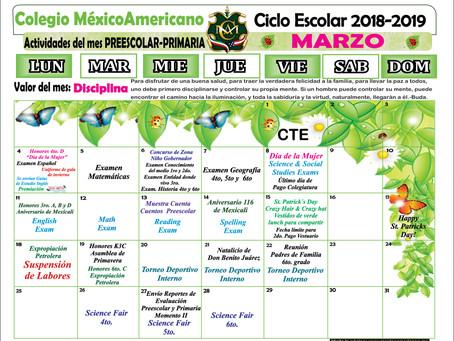 Calendario del mes de marzo, Preescolar y Primaria.