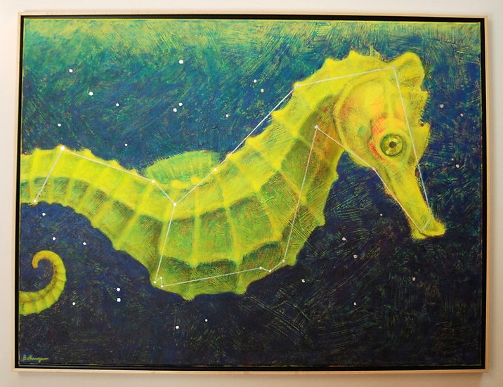 "Space Seahorse (lost constellation Hippocampus) - 31"" x 41"""