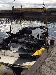 rinker refloated afte fire sank it ontario