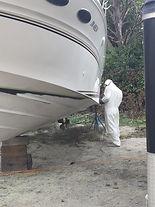 soda blasting boat bottom