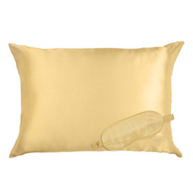 GOLD SATIN PILLOWCASE & EYE MASK