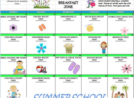 "Summer School Breakfast Menu for June ""Proudly serving free breakfast to all children 18 years"