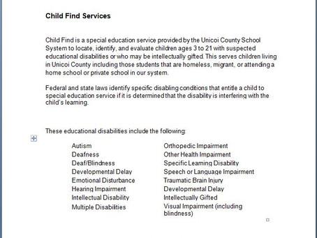Child Find Services
