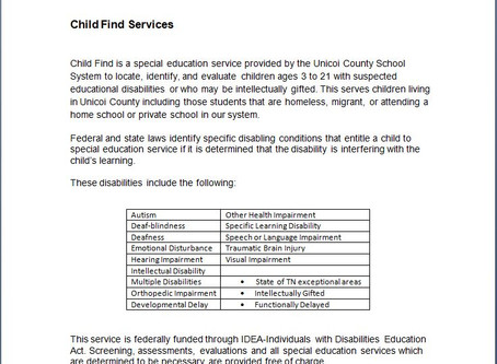 Child Find Services