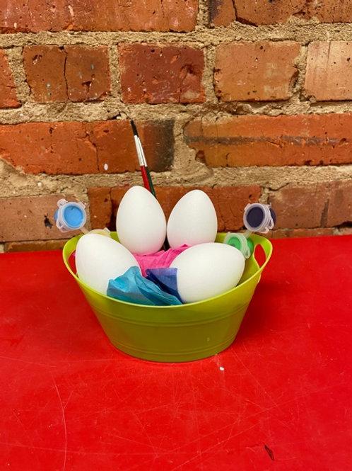 4 eggs with acrylic paint