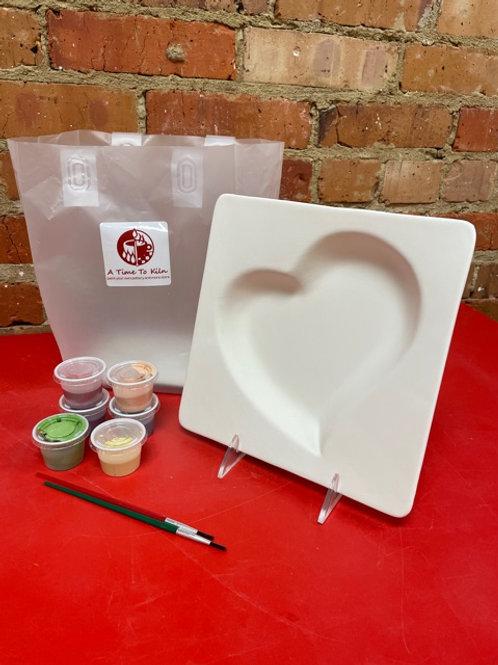 square heart platter