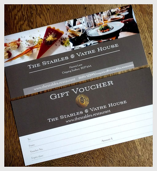 Gift voucher for The Stables @ Vayre House.