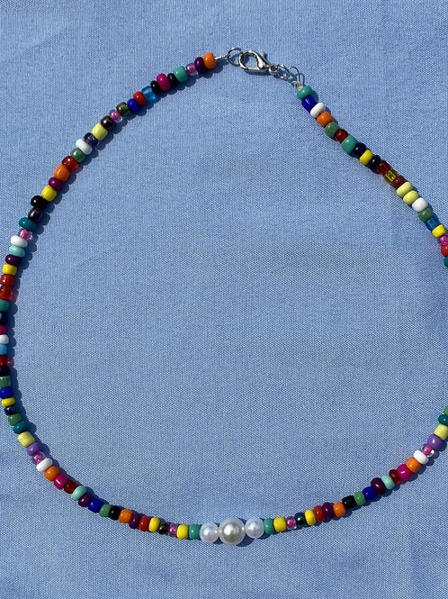 Multi Beaded Necklace with Pearl Accent