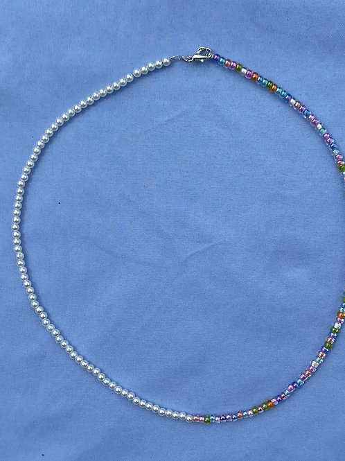Dainty Pearl and Glass Bead Necklace