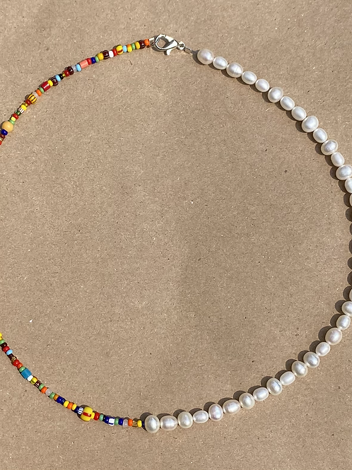 Half Pearl and Bead Necklace