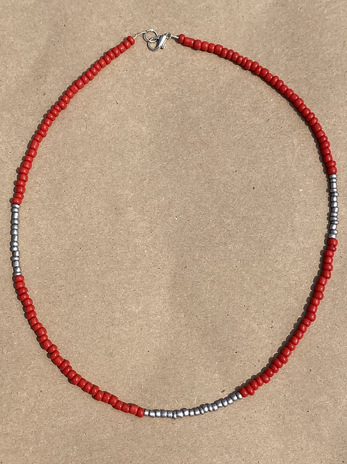 Scarlet and Gray Block Necklace
