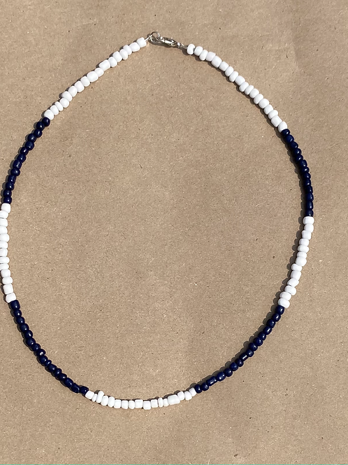 Navy and Blue Block Color Necklace