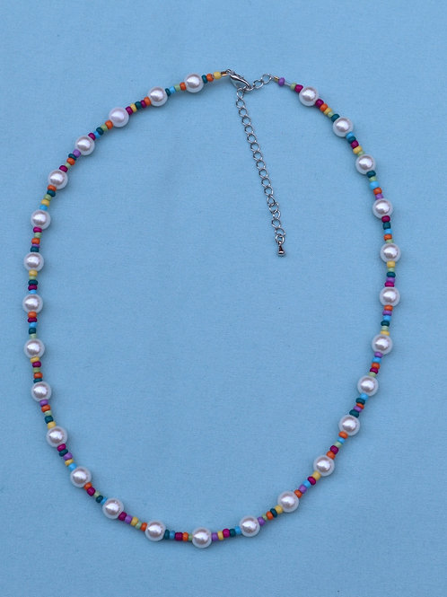 Pastel and Pearl Necklace